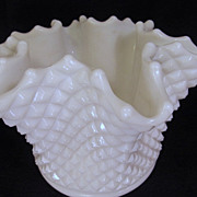 Westmoreland English Hobnail  6 1/2&quot; Ruffled Rose Bowl