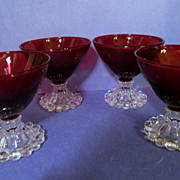 "4 Hocking Ruby Boopie 3 1/2""  Goblets"