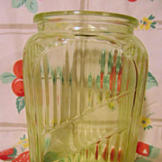 Anchor Hocking Green Depression Canister Jar, No Lid