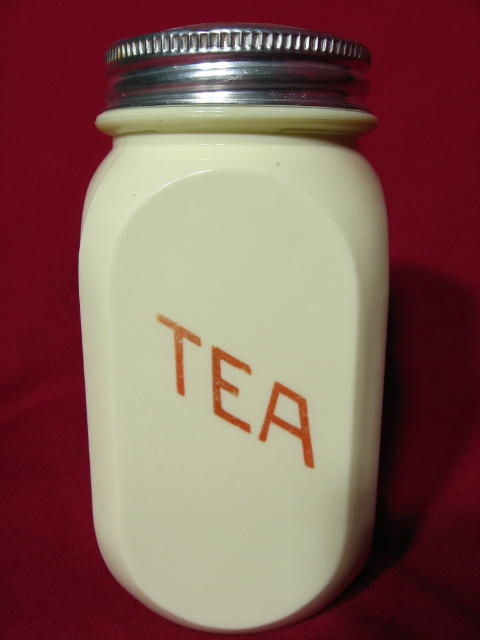 Hocking Glass Opaque Yellow Tea Canister ~ Red Lettering