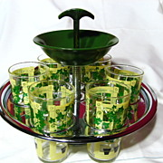 SALE Hocking Chrome And Bakelite Tumbler Drink Caddy