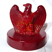 SALE Fenton Bicentennial Patriot Red Glass Eagle Paperweight