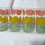 Vintage Chrysanthemum Swanky Swigs ~ Set Of 4