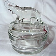 Vintage Jeannette Glass Elephant Top Powder Jar
