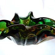 Vintage Czech Multi Hued Art Glass Bowl