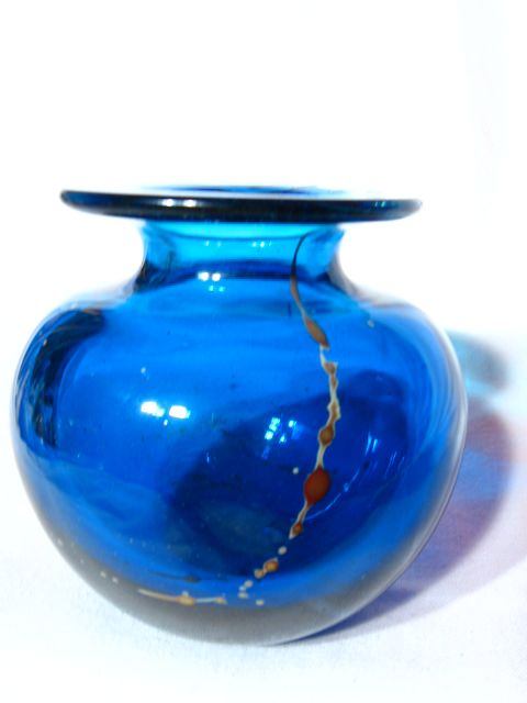 Vintage Mdina Maltese Blue With Trailings Squat Vase