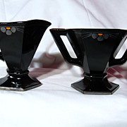 Vintage Art Deco Hexagon Black Glass Creamer And Sugar bowl