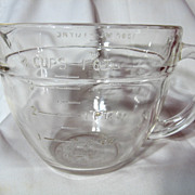 Fire King Crystal 1 Quart Batter Bowl