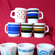 Group Of Eight Fire King & Milk Glass Mugs