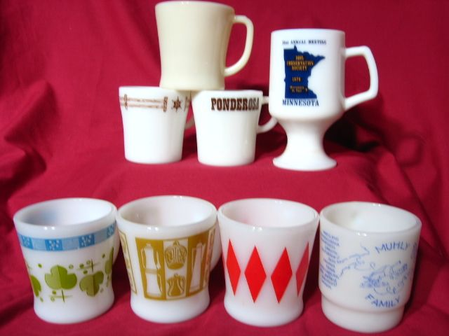 Group Of 8 Assorted Fire King Pyrex Milk Glass Mugs