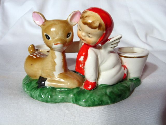 Vintage Holt Howard Deer And Angel Candleholder