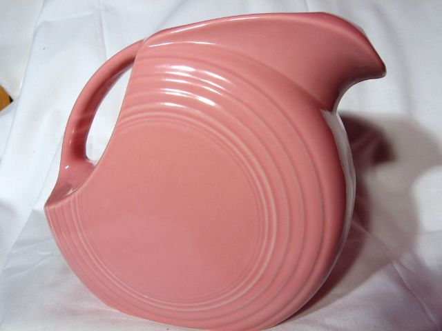 Vintage Fiesta Original Rose 2 Quart Disk Pitcher