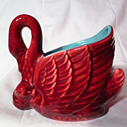 Vintage Red Wing Swan And Chick Planter - Model 1337
