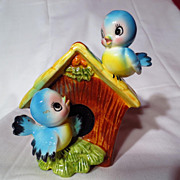 Vintage Norcrest Bluebirds And Birdhouse Still Bank