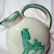 SALE Maioliche Deruta Horse And Foal Majolica Pitcher ~1920's