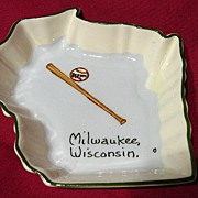 SALE Vintage 1950's Milwaukee Braves Souvenir Annie Laura Pin Dish