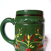 SALE Early Pennsylvania Dutch Potteries of Ohio Hand Painted Stein