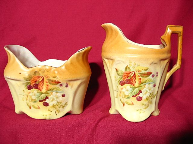 Vintage 1930's Czecho-Slovakian Porcelain Creamer & Sugar