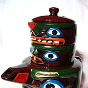 REDUCED Souvenir Totem Pole Teapot, Creamer & Sugar ~ MIJ