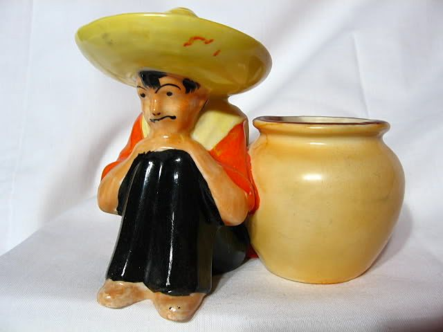 Czech Pottery Mexican Man With Cache Pot Planter