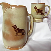Frankoma German Shepherd  Decorated Desert Gold Pitcher & Mug Set
