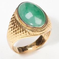 Fine Vintage 14 Karat Gold Mens Jade Signet Ring Jewelry Old