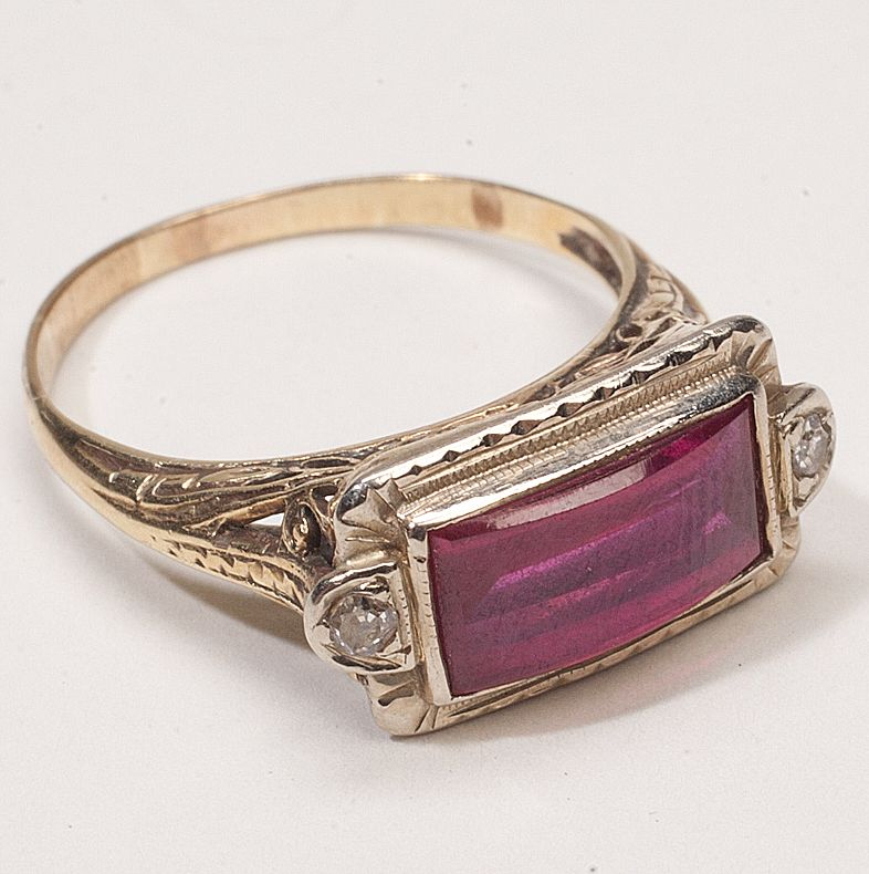 ruby ring vintage deco ruby ring