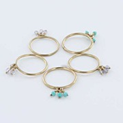 Vintage 10 Karat Yellow Gold Turquoise Charm 5 Ring Set Estate Fine Jewelry Heirloom
