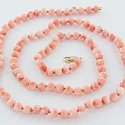 Vintage Estate Salmon Coral Bead 14 Karat Yellow Gold Long Necklace Strand Fine Used Jewelry