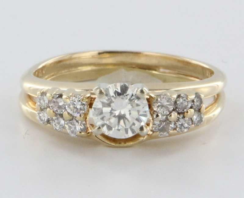 Vintage 14 Karat Yellow Gold Diamond Engagement Ring Estate Fine from preciou