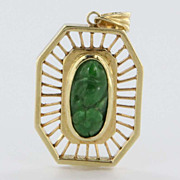 Vintage 14 Karat Yellow Gold Carved Jade Pendant Estate Fine Jewelry Heirloom
