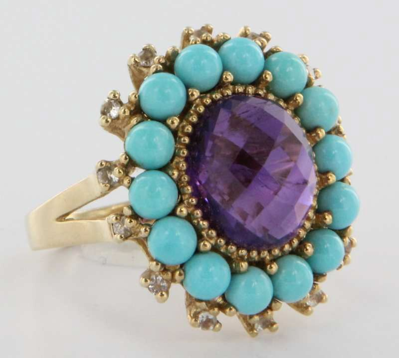 Vintage 10 Karat Yellow Gold Amethyst Turquoise Big Cocktail Ring Estate Fine Jewelry