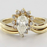 Vintage 14 Karat Yellow Gold Diamond Wedding Ring Set Fine Bridal Jewelry 9.5 9 1/2
