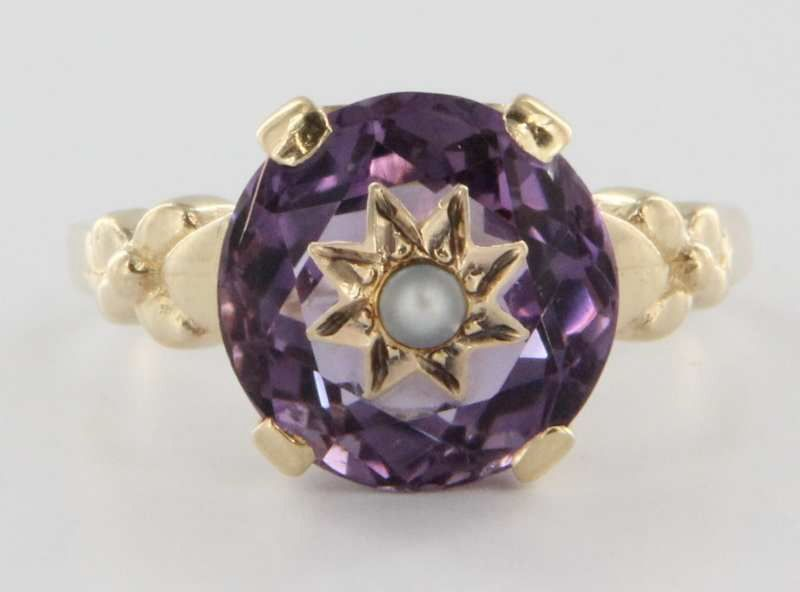 Vintage 14 Karat Yellow Gold Amethyst Seed Pearl Cocktail Ring Estate Fine Jewelry