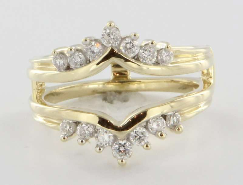 vintage 14 karat yellow gold diamond wedding ring guard wrap bridal