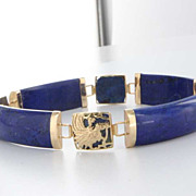 SALE PENDING Vintage 14 Karat Yellow Gold Lapis Lazuli Dragon Bracelet Estate Jewelry Heirloom