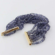 SALE PENDING Estate 14 Karat Yellow Gold Blue Sapphire 8 Strand Cocktail Bracelet Fine Jewelry