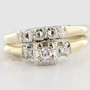 Vintage 14 Karat Yellow White Gold Diamond Wedding Ring Set Fine Estate Jewelry Used