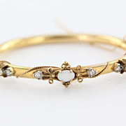 Vintage 14 Karat Yellow Gold Diamond Opal Bangle Bracelet Fine Estate Jewelry Used