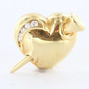 Vintage 18 Karat Gold Nail in Heart Diamond Brooch Pin Estate Fine Jewelry Pre Owned