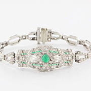 Vintage Art Deco Platinum Diamond Emerald Bracelet Estate Fine Jewelry Heirloom