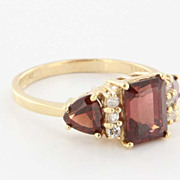 Estate 14 Karat Yellow Gold Diamond Garnet Ring Fine Jewelry Pre-Owned Used 6.5