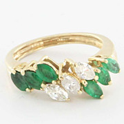 Vintage 14 Karat Yellow Gold Diamond Emerald Ring Fine Estate Jewelry Pre-Owned