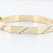 Vintage 14 Karat Yellow Gold Diamond Octagonal Bangle Bracelet Fine Jewelry Used