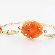 Vintage Art Deco 14 Karat Yellow Gold Carved Carnelian Cocktail Bracelet Estate Jewelry Used