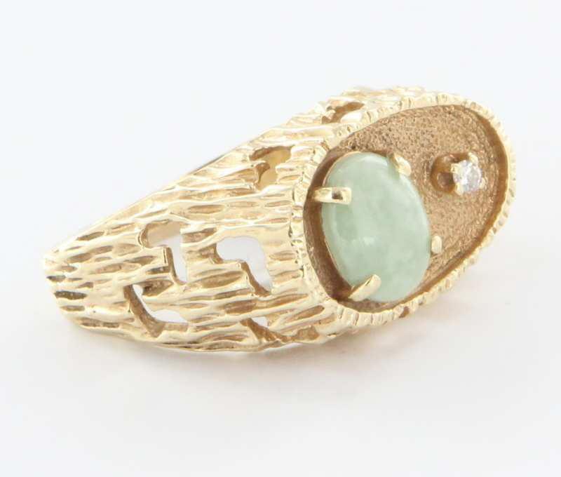vintage 14 karat yellow golddiamond jade mens ring