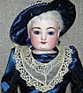 "Gorgeous!!!! - FG French Fashion Doll - 21"" - Giant blue Paperweight Eyes - Blue satin dress, hat, purse & boots!! - Perfect with nice body!! - Antique French Doll!!"