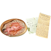 "Tiny 3"" antique Wax Baby Doll - With Wood Box & Papers - Won Prize Oct. 10, 1935!!!"