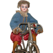 "French Mechanical Bike Rider Antique Doll - Clockwork Mechanism - Bisque Head & Glass Eyes - 11"" Tall - Just Wonderful!!!!"