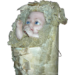 "Antique - Wax Swaddling Baby Candy Container - Pull Cord & Feet Move!!! - Lace, Silk & Ribbons - All Original & Fabulous!!! - 14"" - Candy Container!!!"